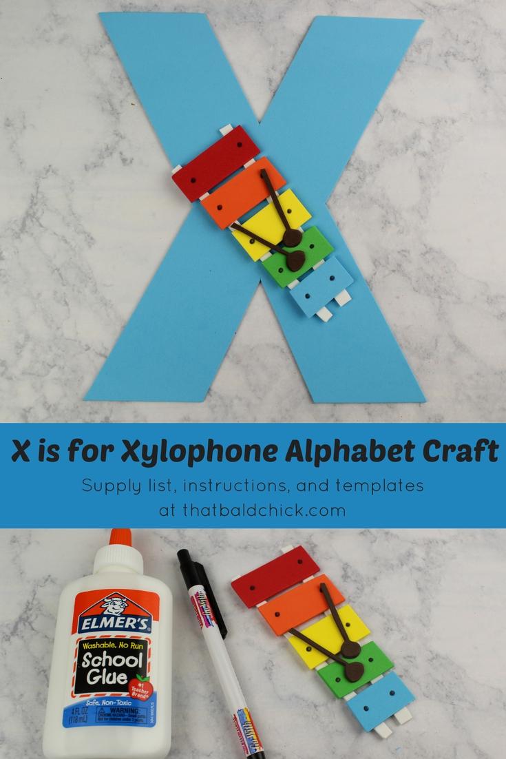 Letter X Craft at thatbaldchick.com