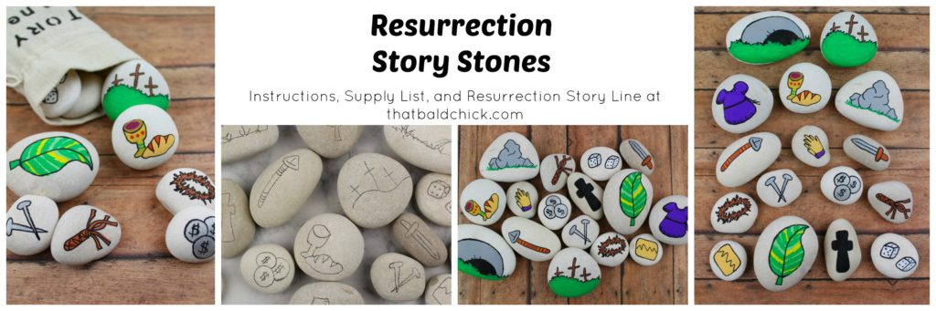 Get the supply list, instructions, and Resurrection Story Line for these Resurrection Story Stones at thatbaldchick.com. #Easter #resurrection #storystones #craft #diy