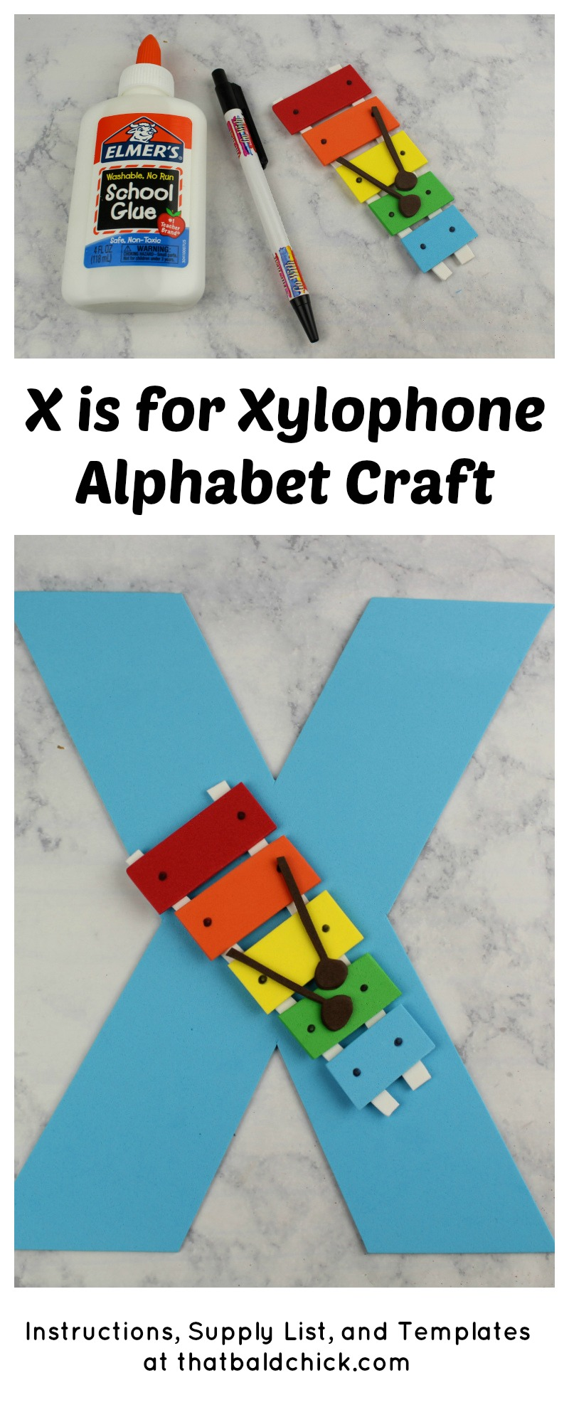 X is for Xylophone Alphabet Craft at thatbaldchick.com