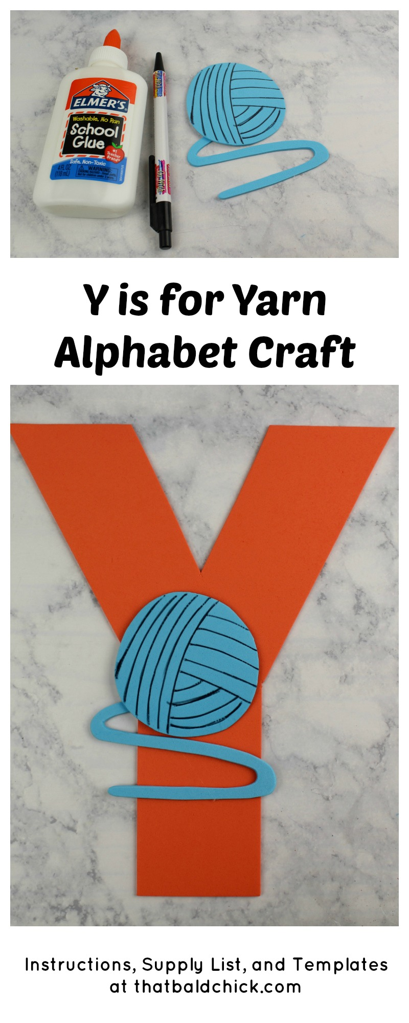 Y is for Yarn Alphabet Craft
