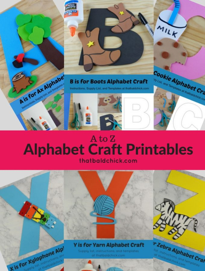 Get the #free templates for the A to Z #printable #alphabet #crafts at thatbaldchick.com! #homeschool #preschool #homeschooling #hsmommas #homeeducate