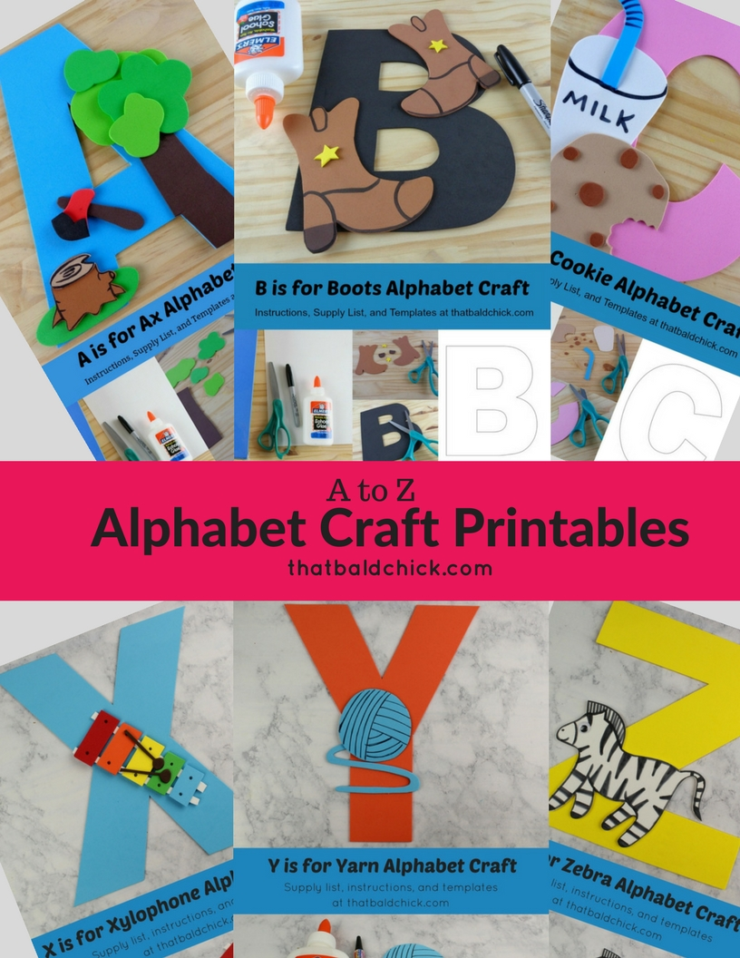 Alphabet craft printables that bald chick get the free templates for the a to z printable alphabet crafts spiritdancerdesigns Gallery