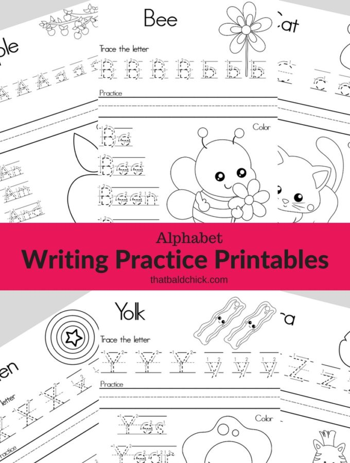 Get these #free #Alphabet #writing practice #Printables at thatbaldchick.com! #homeschool #teacher #abcs #lotw #free #printable #homeschooling #hsmommas