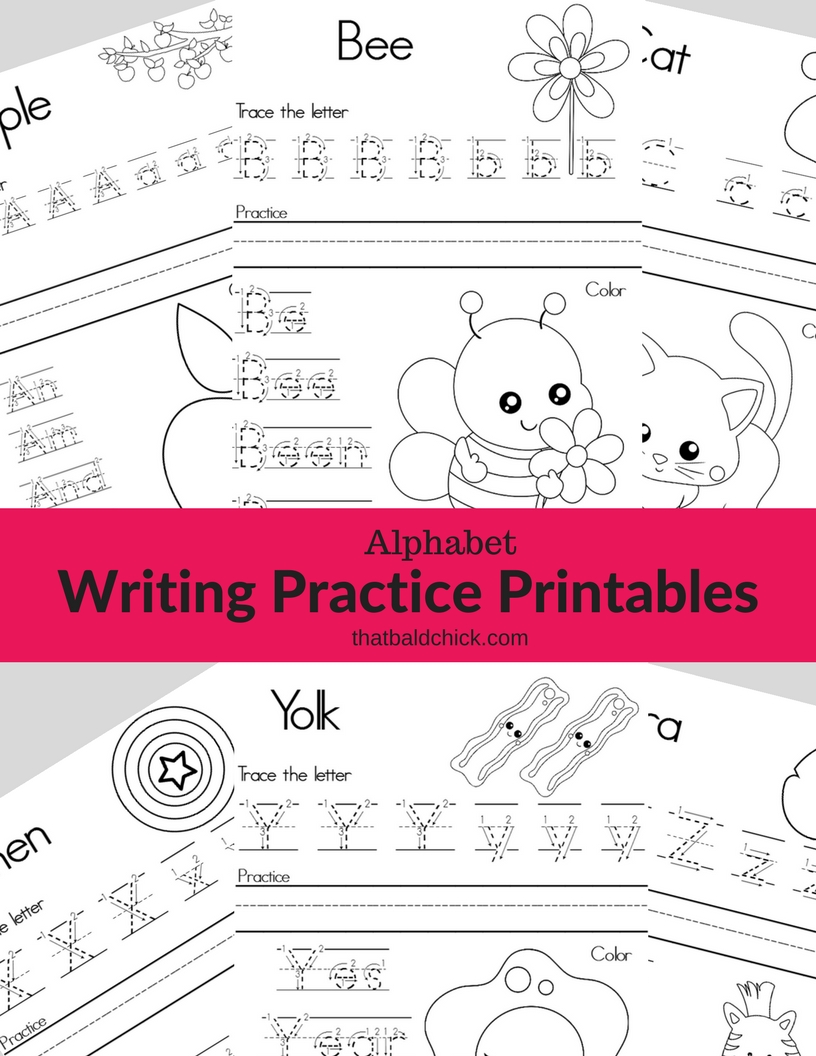 alphabet writing practice printables that bald chick