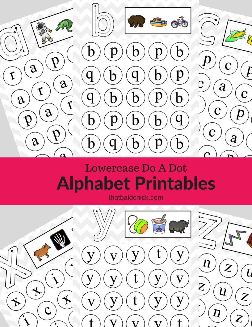 Get these #free Lowercase Do A Dot #Alphabet #Printables at thatbaldchick.com! #homeschool #teacher #abcs #lotw #free #printable #homeschooling #hsmommas