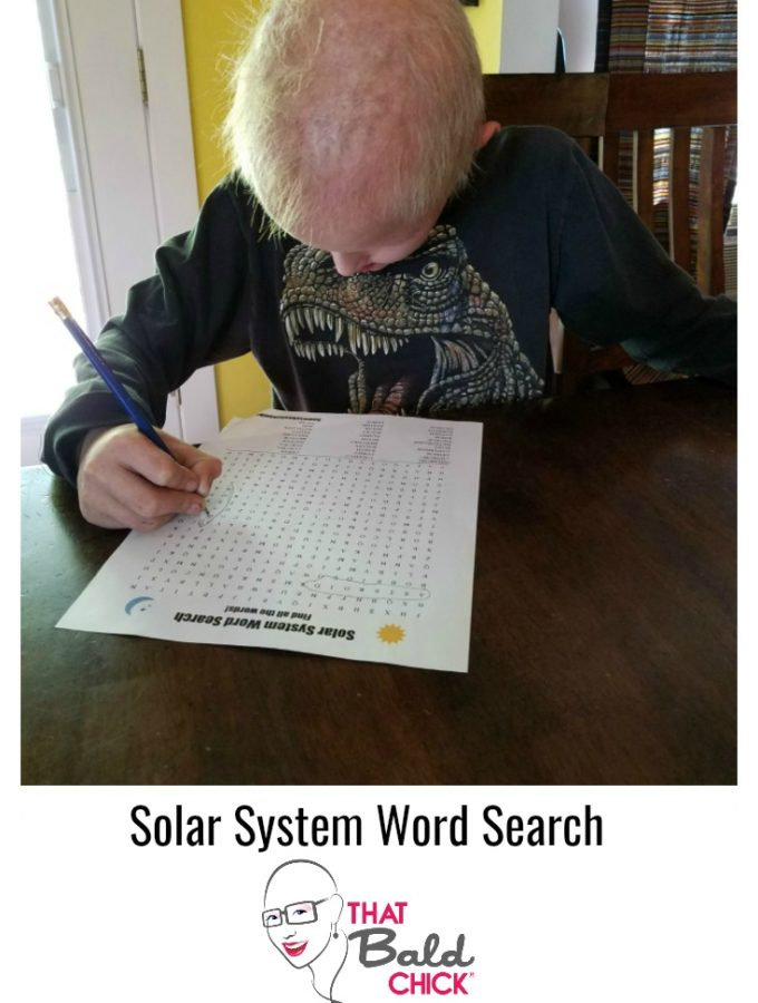Get this #free #printable Solar System Word Search at thatbaldchick.com. #homeschool #homeschooling #homeeducate #solarsystem #science