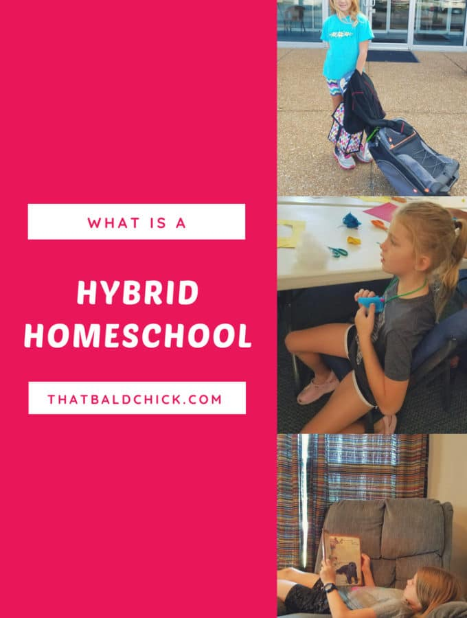 What is a hybrid homeschool and should you consider one at thatbaldchick.com #homeschool#hybridhomeschool #homeschoolhybrid #homeschooling #homeed