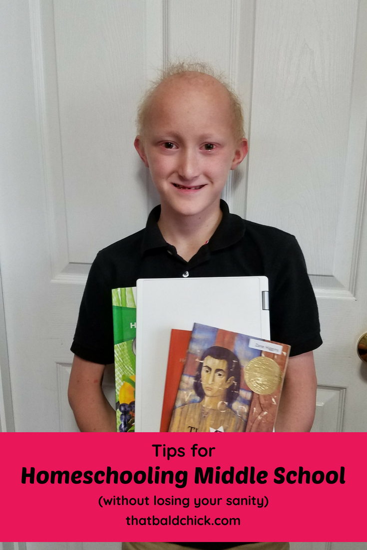 Tips for Homeschooling Middle School (without losing your sanity) at thatbaldchick.com