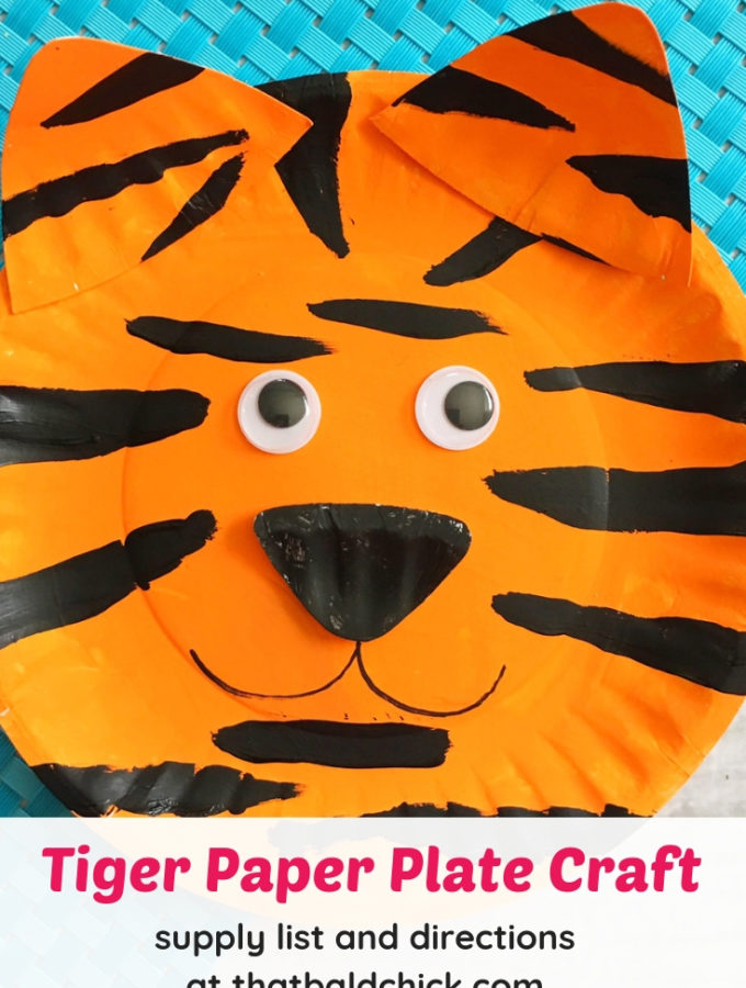Make this tiger paper plate craft - instructions and supply list at thatbaldchick.com