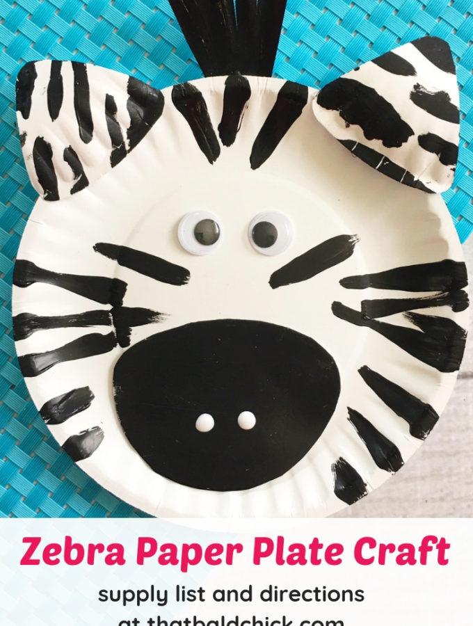 Make this zebra paper plate craft - supply list and directions at thatbaldchick.com #craft #homeschool #animalcrafts #kids #zebra #paperplatecraft