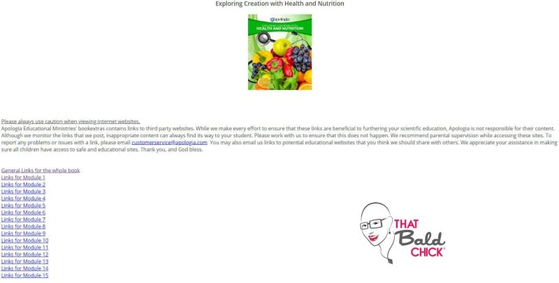 apologia health and nutrition bookextras index