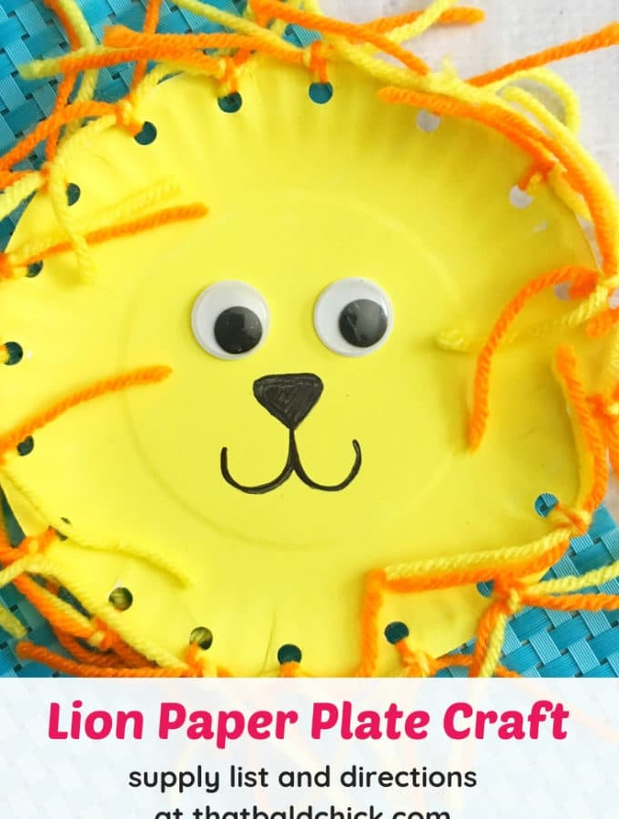 Make this cute lion paper plate craft - supply list and directions at thatbaldchick.com #craft #preschool #kids #lion #paperplatecraft