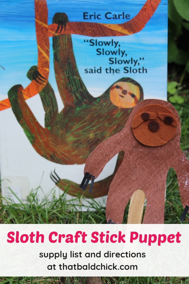 Make your own Sloth Craft Stick Puppet - supply list and instructions at thatbaldchick.com