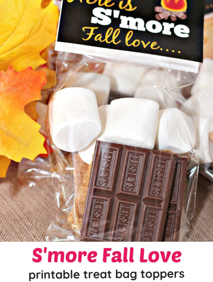 S'more Fall Love printable treat bag toppers