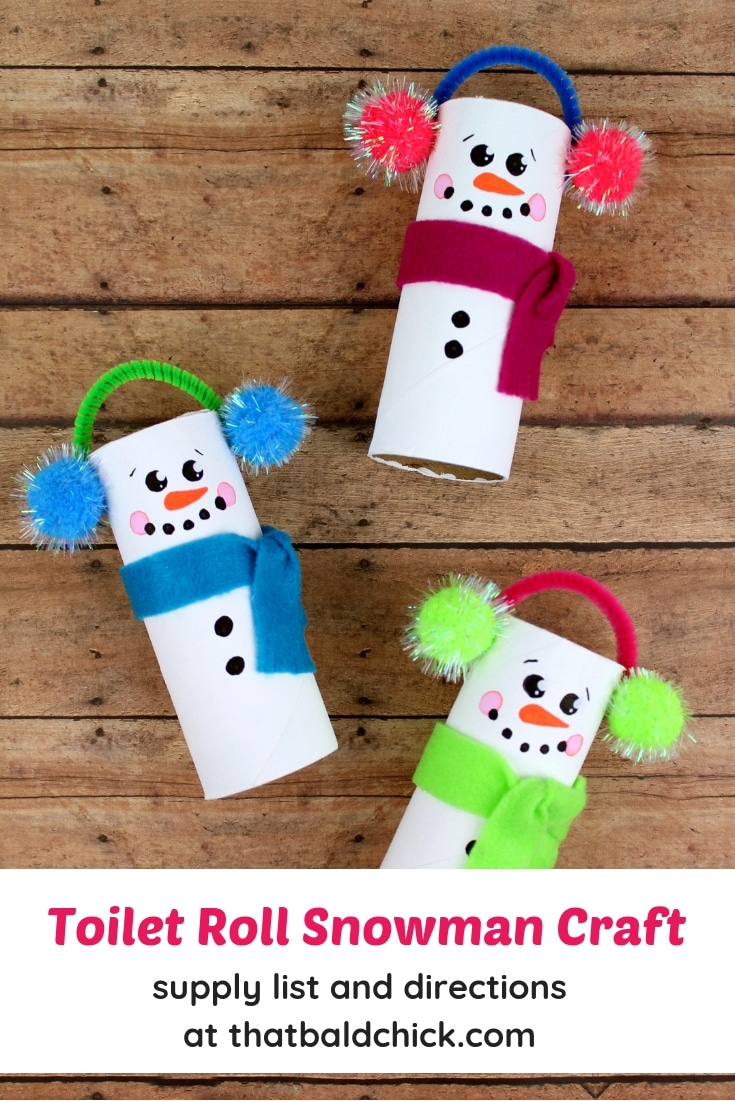 Make this fun toilet roll snowman craft with the kids. #snowman #snowmen #craft #diy #toiletrollcrafts #papertubecrafts