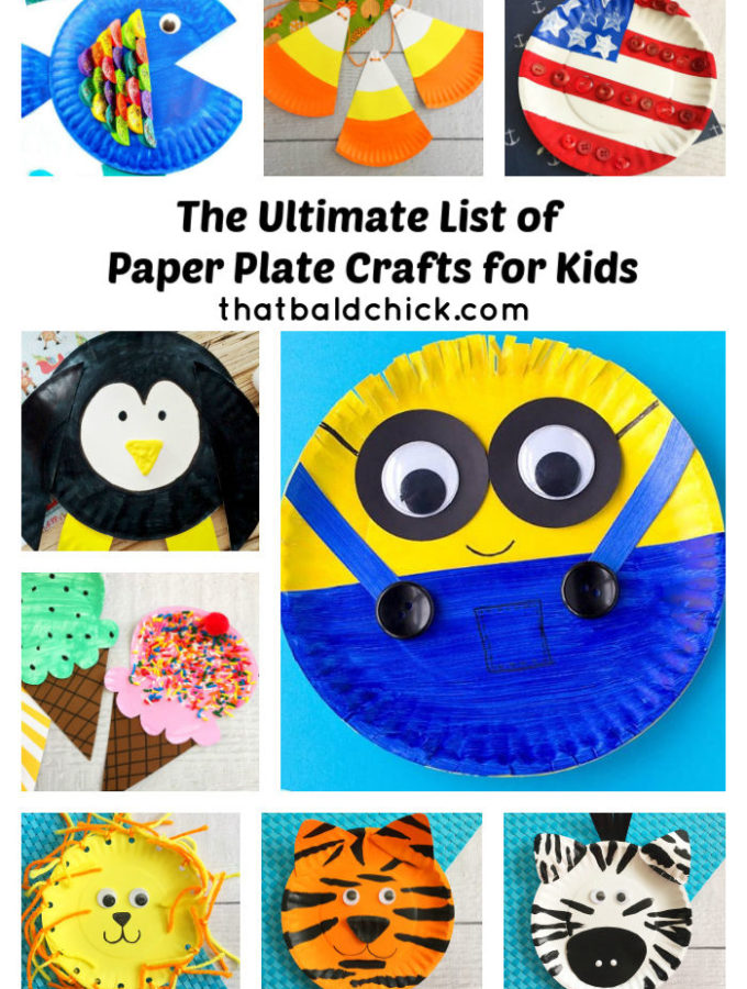 Check out all of the ideas on this ultimate list of paper plate crafts for kids at thatbaldchick.com #paperplatecraft #homeschool #preschool #kindergarten #kidcrafted #craft #crafts
