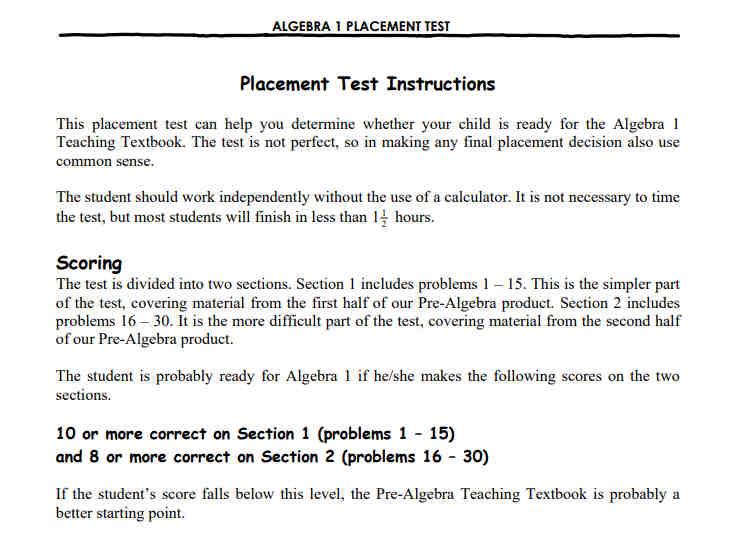 Teaching Textbooks Math Placement Test Scoring