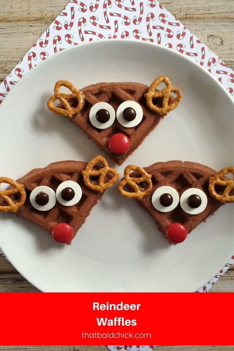 These reindeer waffles are super simple to make and are perfect for North Pole Breakfast or Christmas Morning Breakfast! #recipe #recipes #breakfast #Christmas #kids