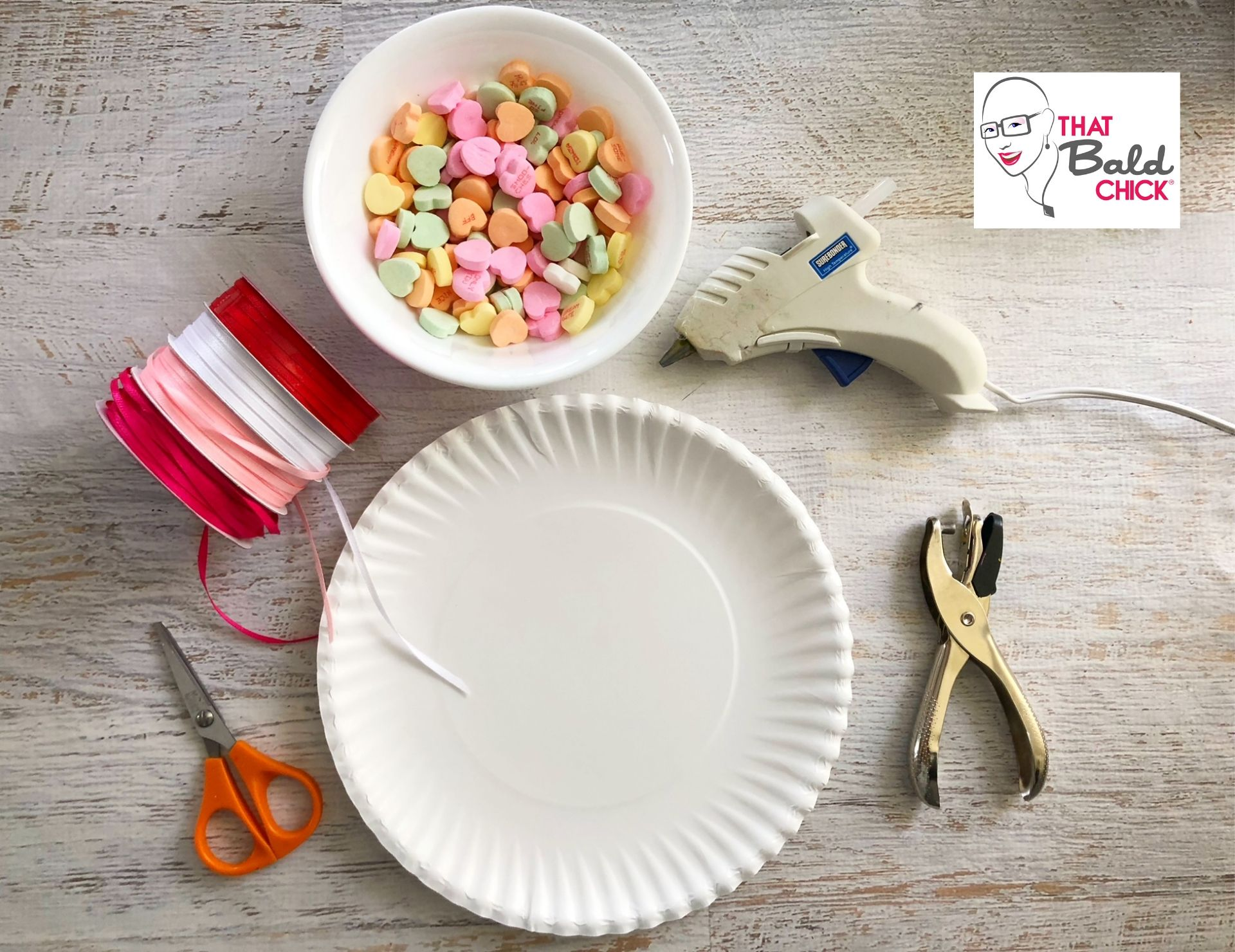 Supplies for conversation heart paper plate craft