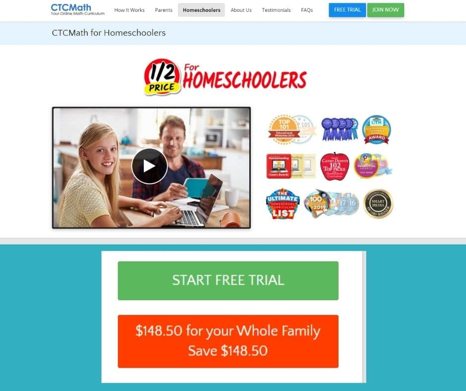 CTCMath is Half Price for Homeschoolers