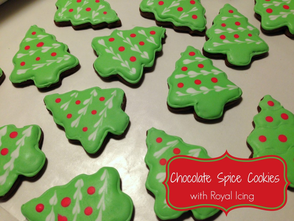 chocolate spice cookies with royal icing
