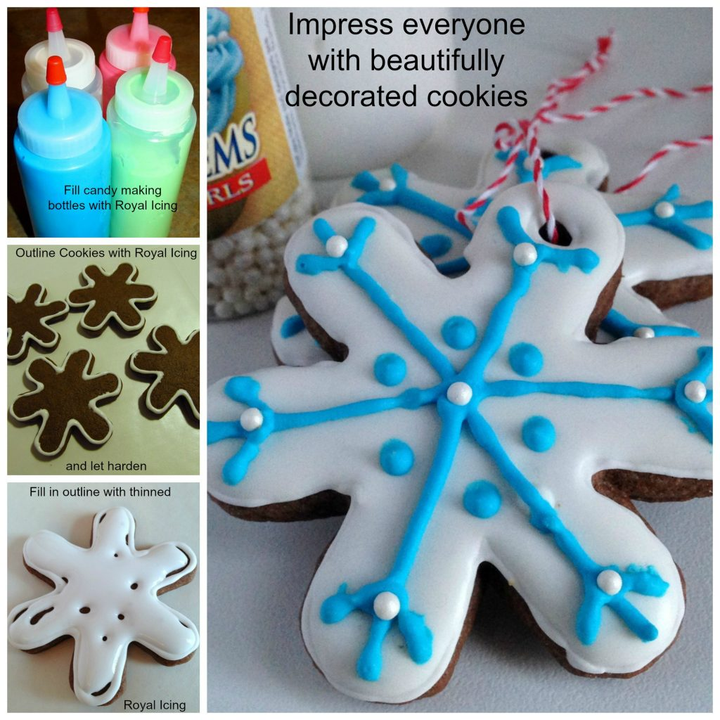 steps for decorating chocolate spice cookies