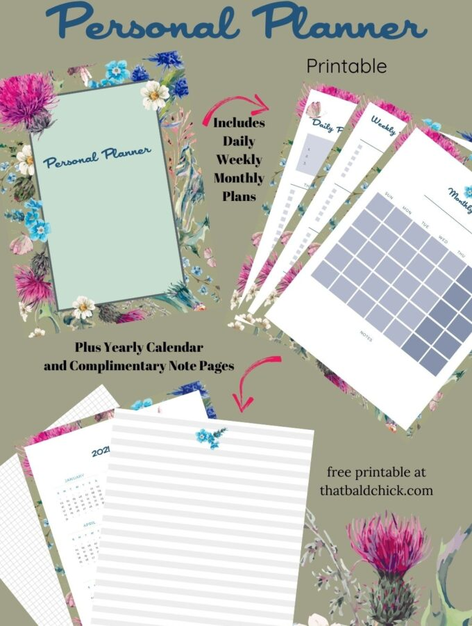 Floral Personal Planner Printable with Note Pages
