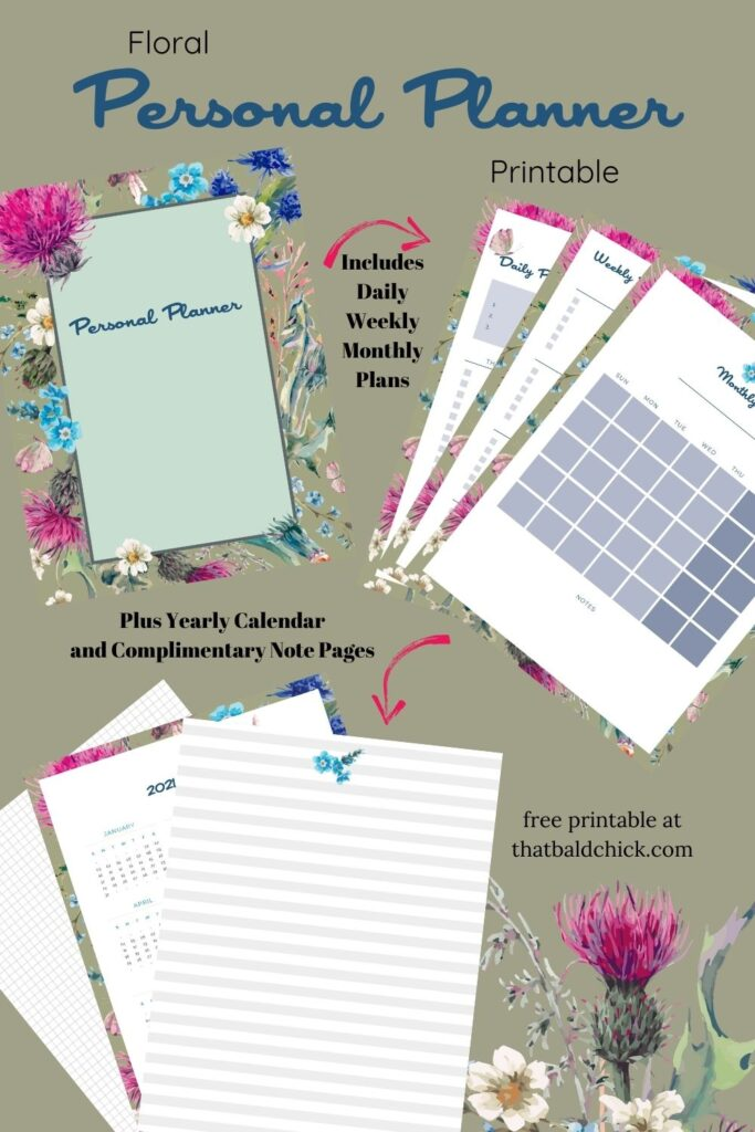 Floral Personal Planner Printable plus yearly calendar and complimentary note pages