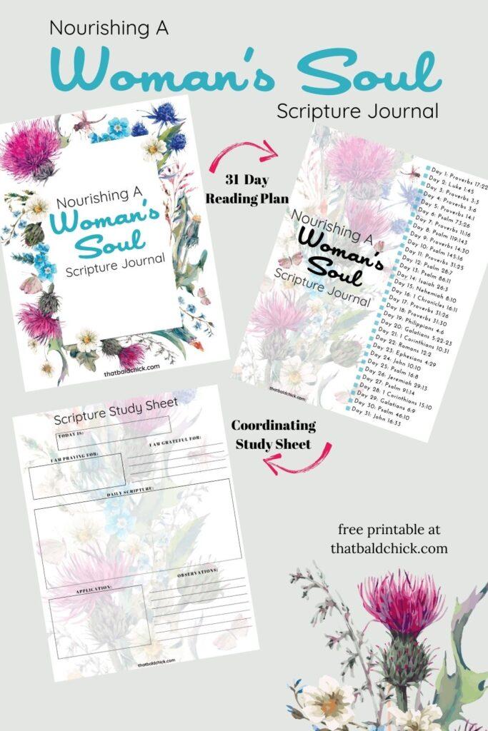 Nourishing A Woman's Soul Journal with Study Sheet