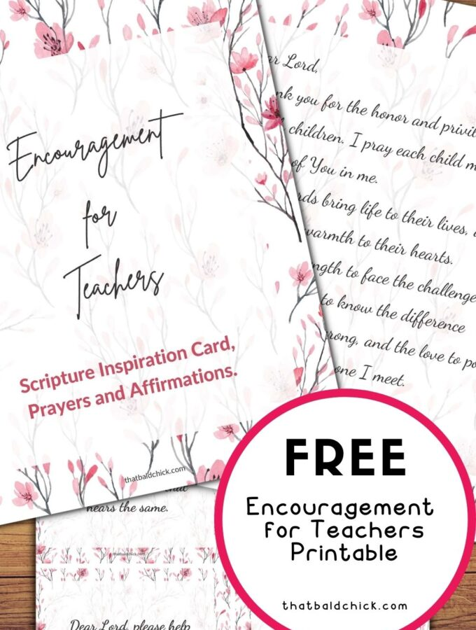 Encouragement for Teachers Printable