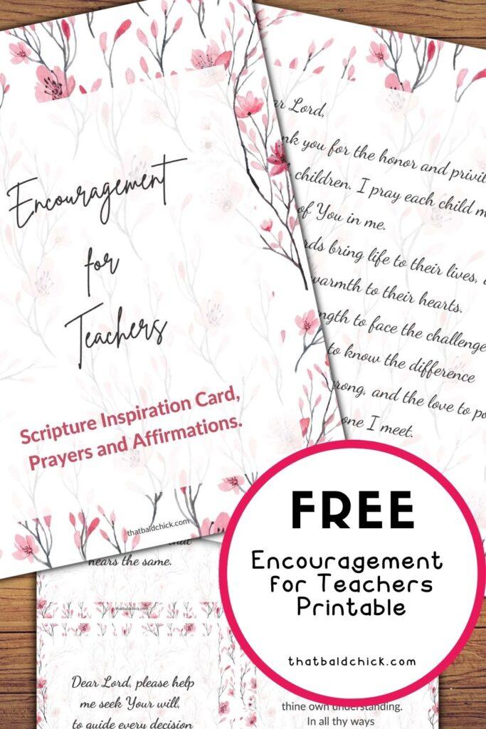 Encouragement for Teachers Printable