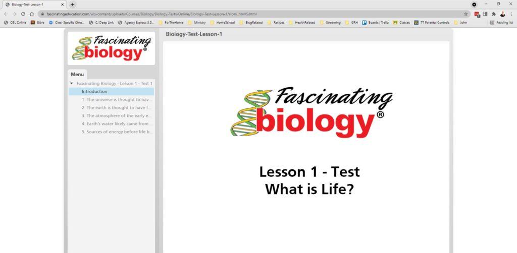 Fascinating Biology test screen