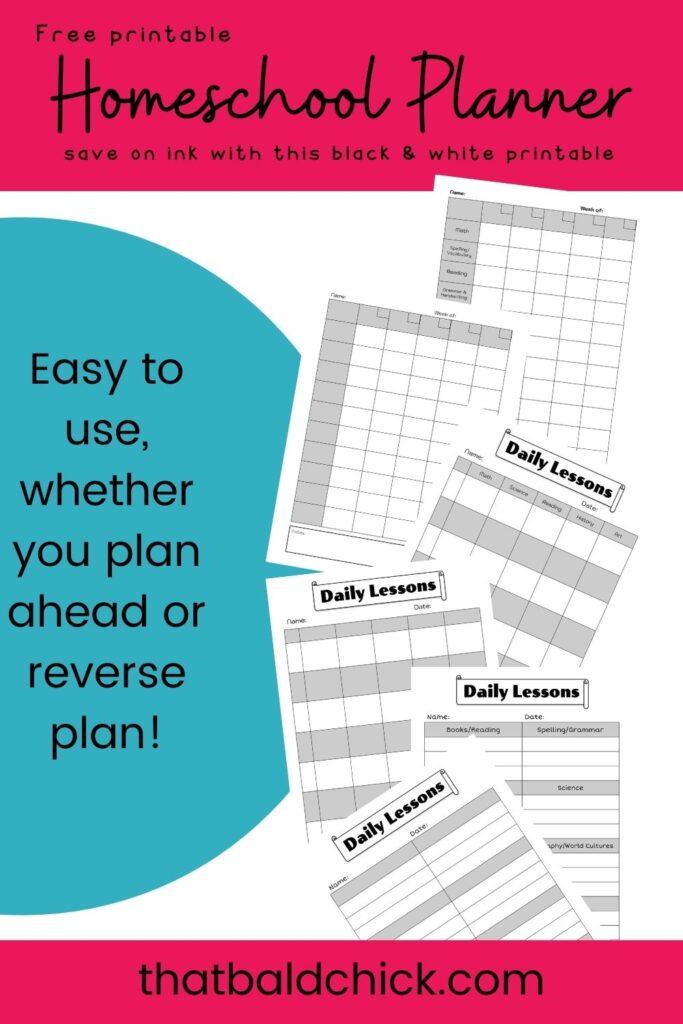 Homeschool Planner Printable free