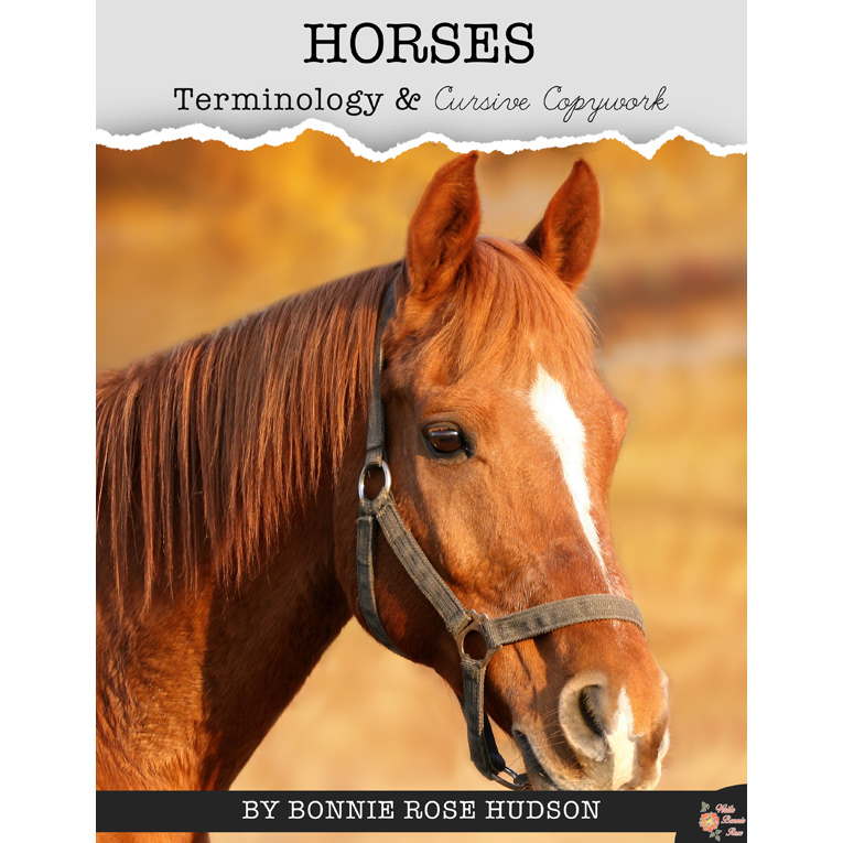 Horses Terminology Copywork from Write Bonnie Rose